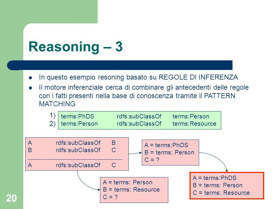 Reasoning – 3 In questo esempio resoning basato su REGOLE DI INFERENZA