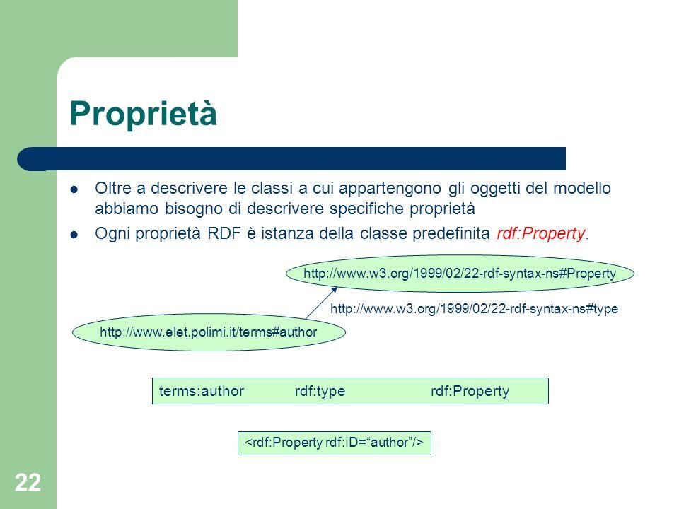 Proprietà Oltre a descrivere le classi a cui appartengono gli oggetti del modello abbiamo bisogno di descrivere specifiche proprietà.