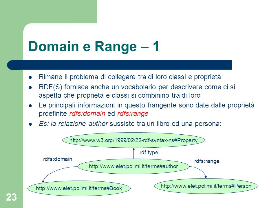 Domain e Range – 1 Rimane il problema di collegare tra di loro classi e proprietà.