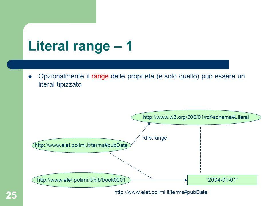 Literal range – 1 Opzionalmente il range delle proprietà (e solo quello) può essere un literal tipizzato.
