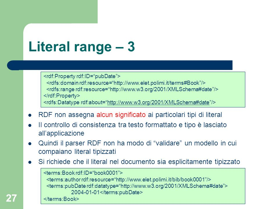 Literal range – 3 <rdf:Property rdf:ID= pubDate > <rdfs:domain rdf:resource= http://www.elet.polimi.it/terms#Book />