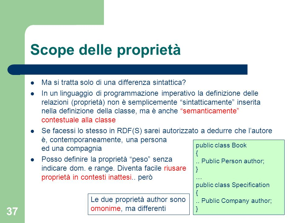 Scope delle proprietà Ma si tratta solo di una differenza sintattica