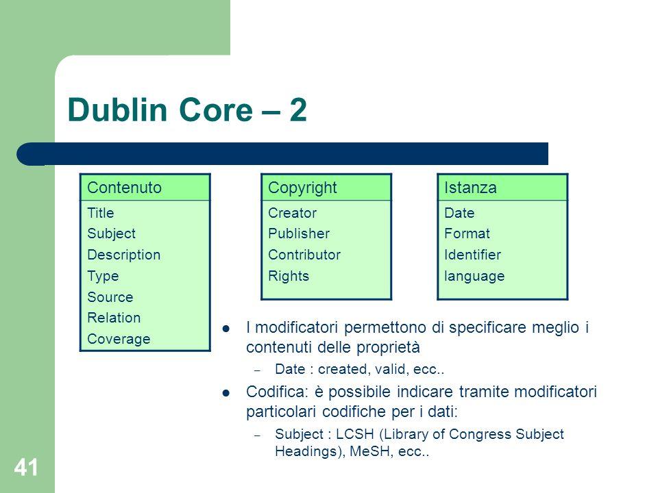 Dublin Core – 2 Contenuto Copyright Istanza