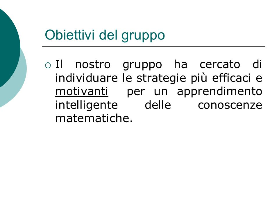 Obiettivi del gruppo