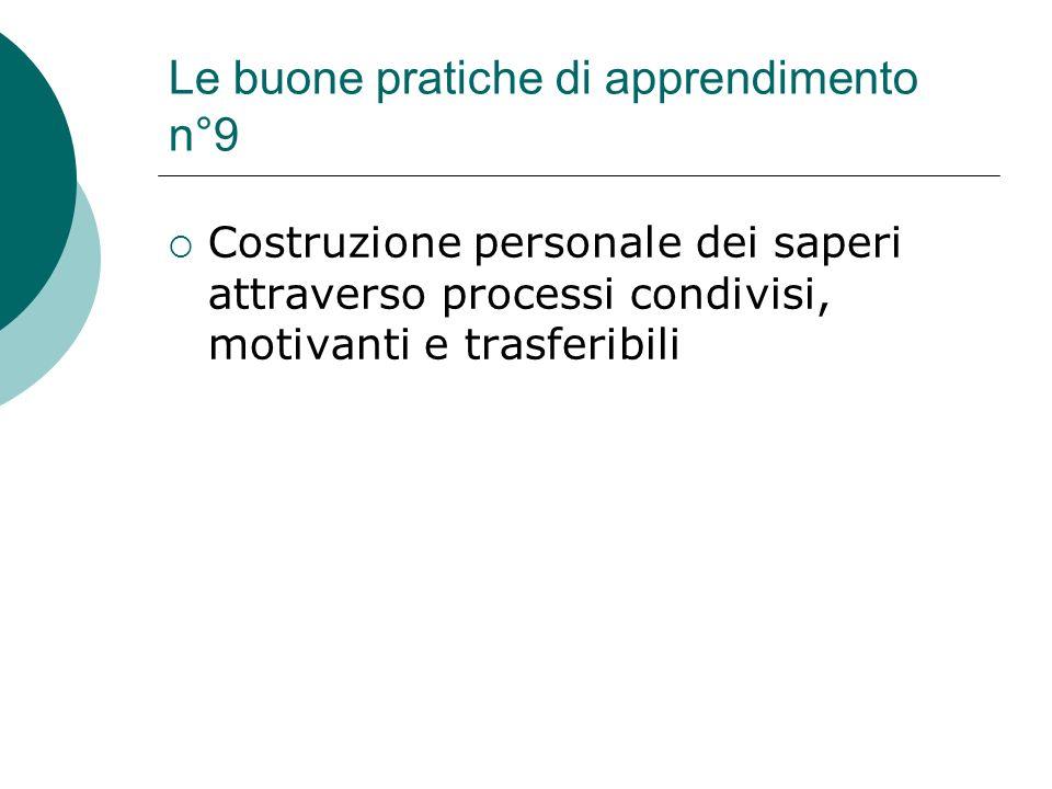 Le buone pratiche di apprendimento n°9
