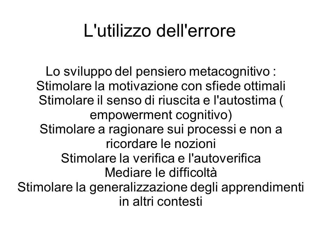 L utilizzo dell errore Lo sviluppo del pensiero metacognitivo :