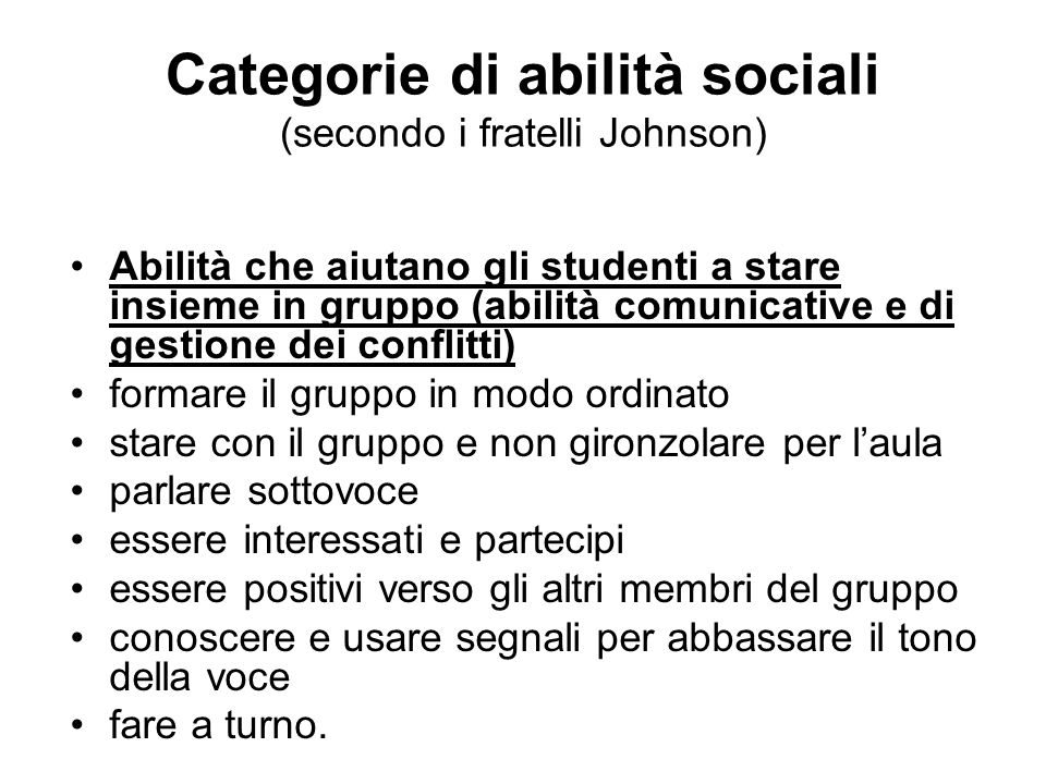 Categorie di abilità sociali (secondo i fratelli Johnson)