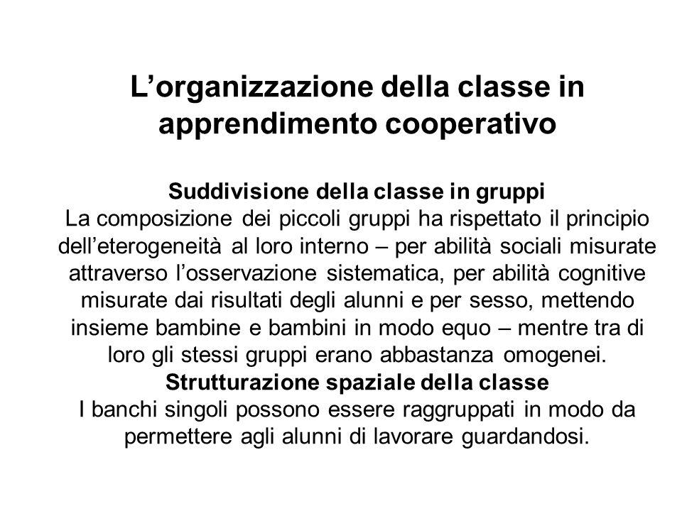 L'organizzazione della classe in apprendimento cooperativo