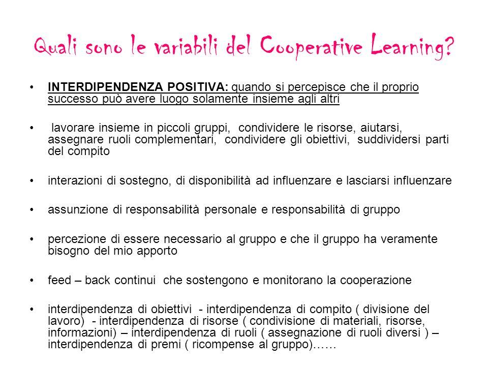 Quali sono le variabili del Cooperative Learning