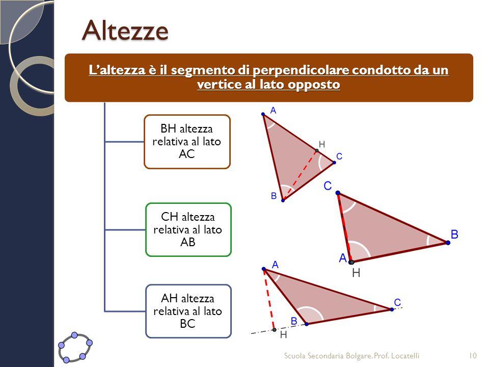 Altezze L'altezza è il segmento di perpendicolare condotto da un vertice al lato opposto. BH altezza relativa al lato AC.