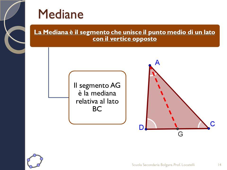 Il segmento AG è la mediana relativa al lato BC
