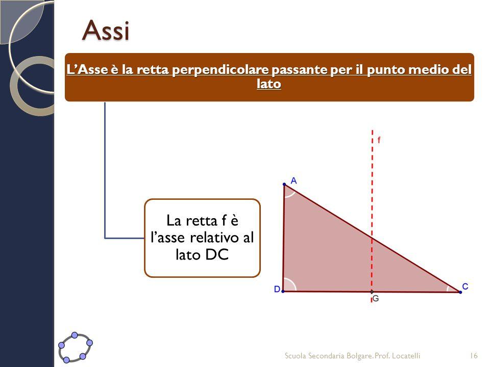 L'Asse è la retta perpendicolare passante per il punto medio del lato