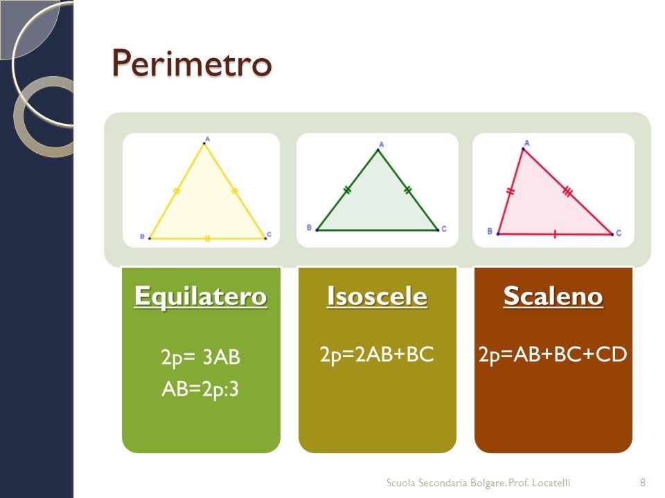 Perimetro Equilatero Isoscele Scaleno 2p= 3AB AB=2p:3 2p=2AB+BC