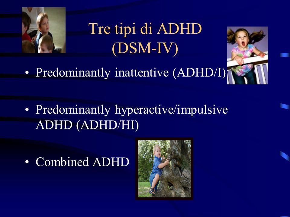 Tre tipi di ADHD (DSM-IV)