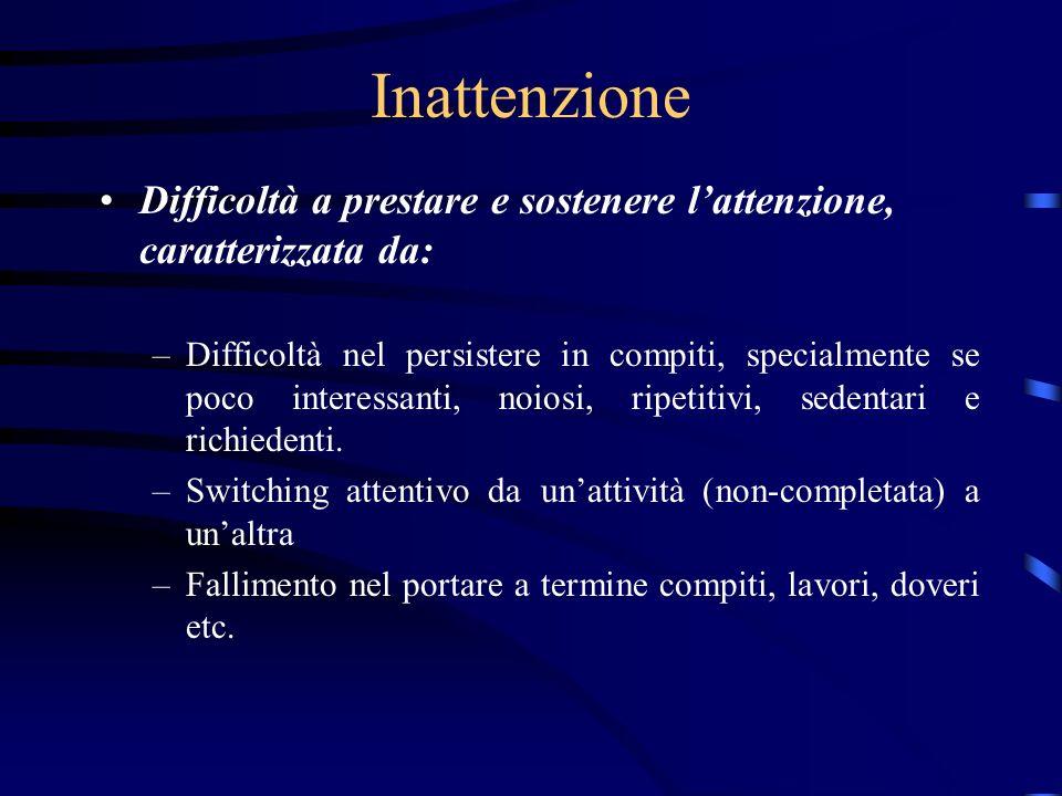 Inattenzione Difficoltà a prestare e sostenere l'attenzione, caratterizzata da: