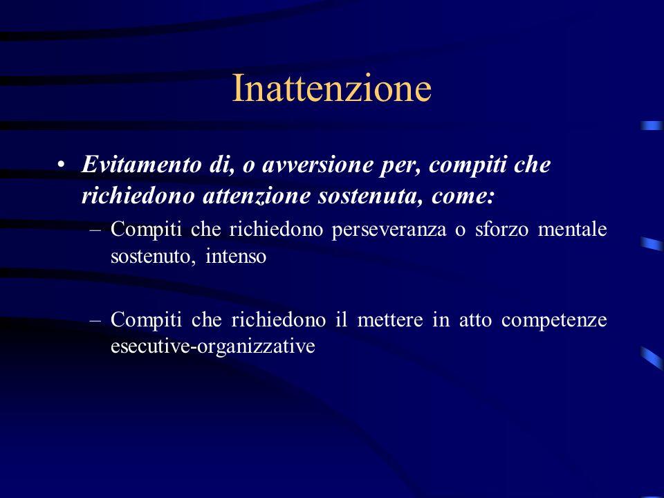 Inattenzione Evitamento di, o avversione per, compiti che richiedono attenzione sostenuta, come: