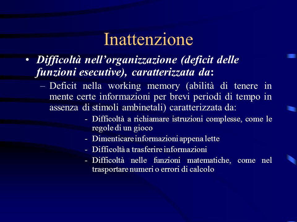 Inattenzione Difficoltà nell'organizzazione (deficit delle funzioni esecutive), caratterizzata da: