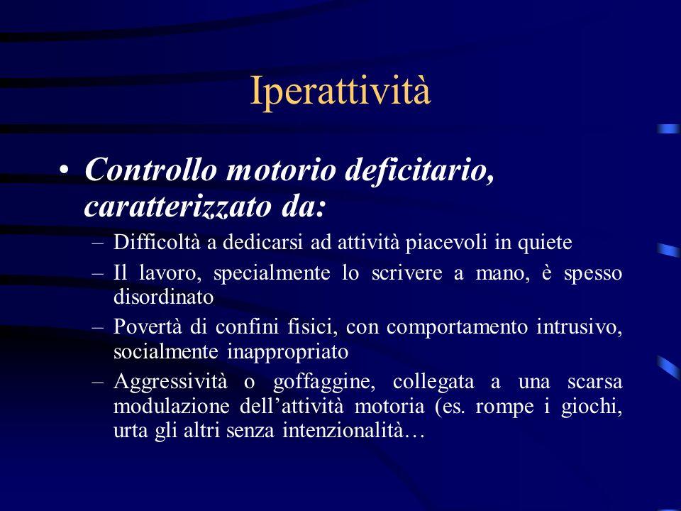 Iperattività Controllo motorio deficitario, caratterizzato da: