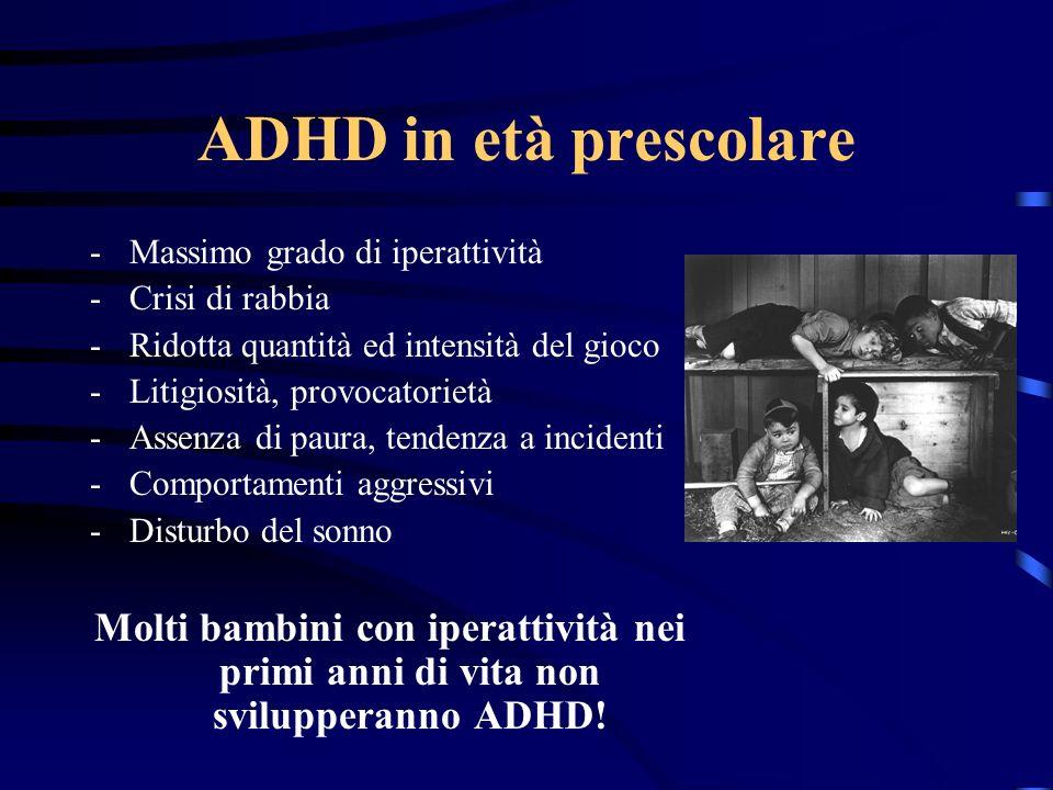 ADHD in età prescolare Massimo grado di iperattività. Crisi di rabbia. Ridotta quantità ed intensità del gioco.