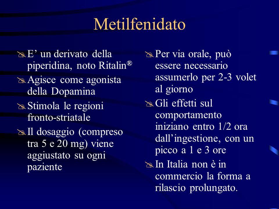 Metilfenidato E' un derivato della piperidina, noto Ritalin®