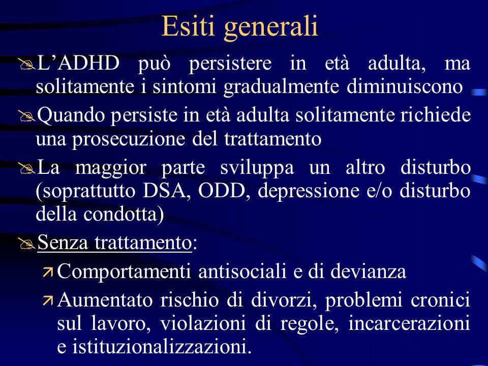 Esiti generali L'ADHD può persistere in età adulta, ma solitamente i sintomi gradualmente diminuiscono.