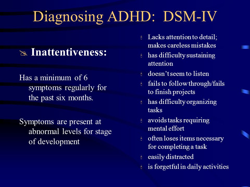 Diagnosing ADHD: DSM-IV