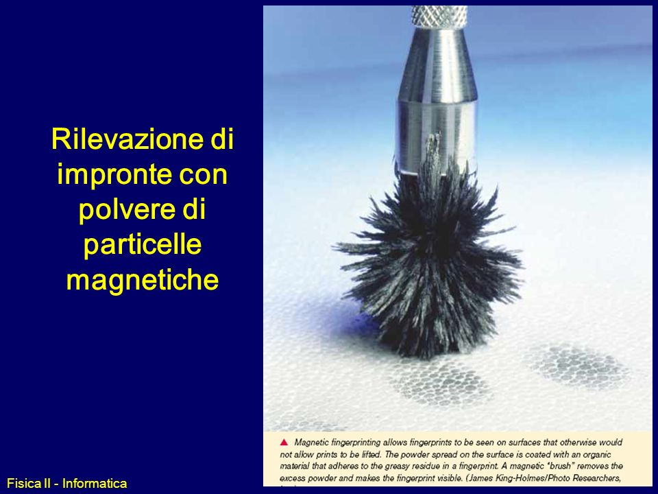 Rilevazione di impronte con polvere di particelle magnetiche