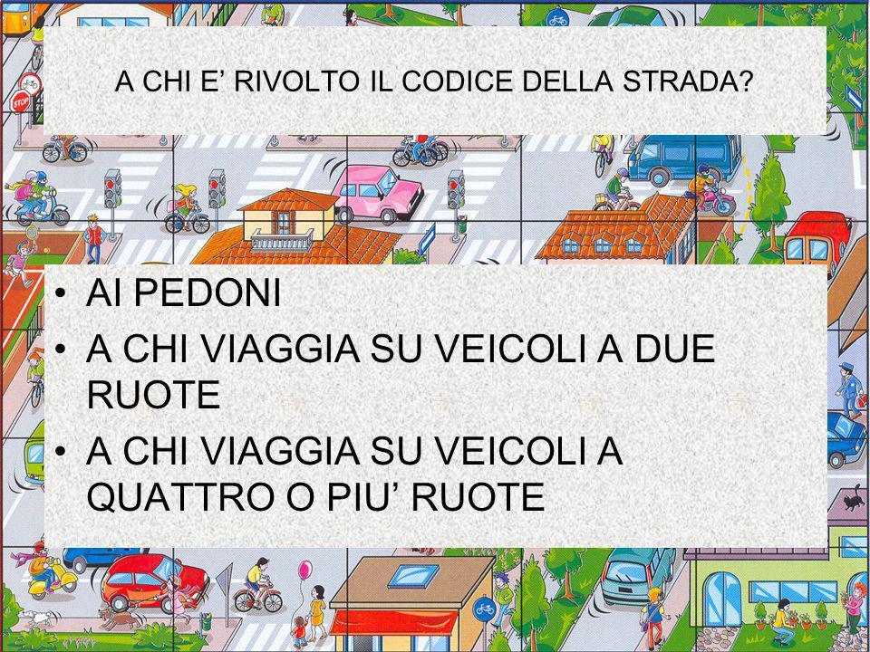 A CHI E' RIVOLTO IL CODICE DELLA STRADA