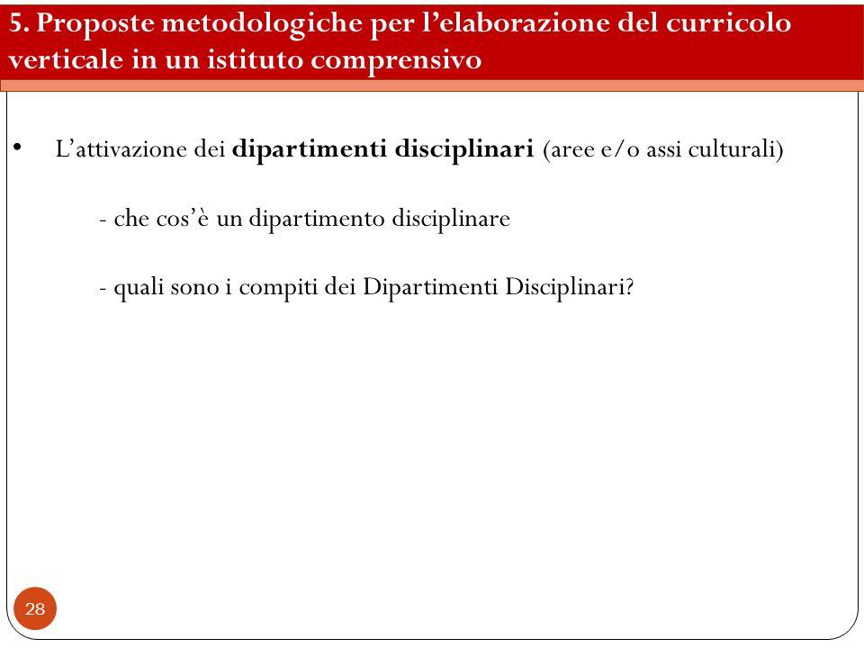 5. Proposte metodologiche per l'elaborazione del curricolo verticale in un istituto comprensivo