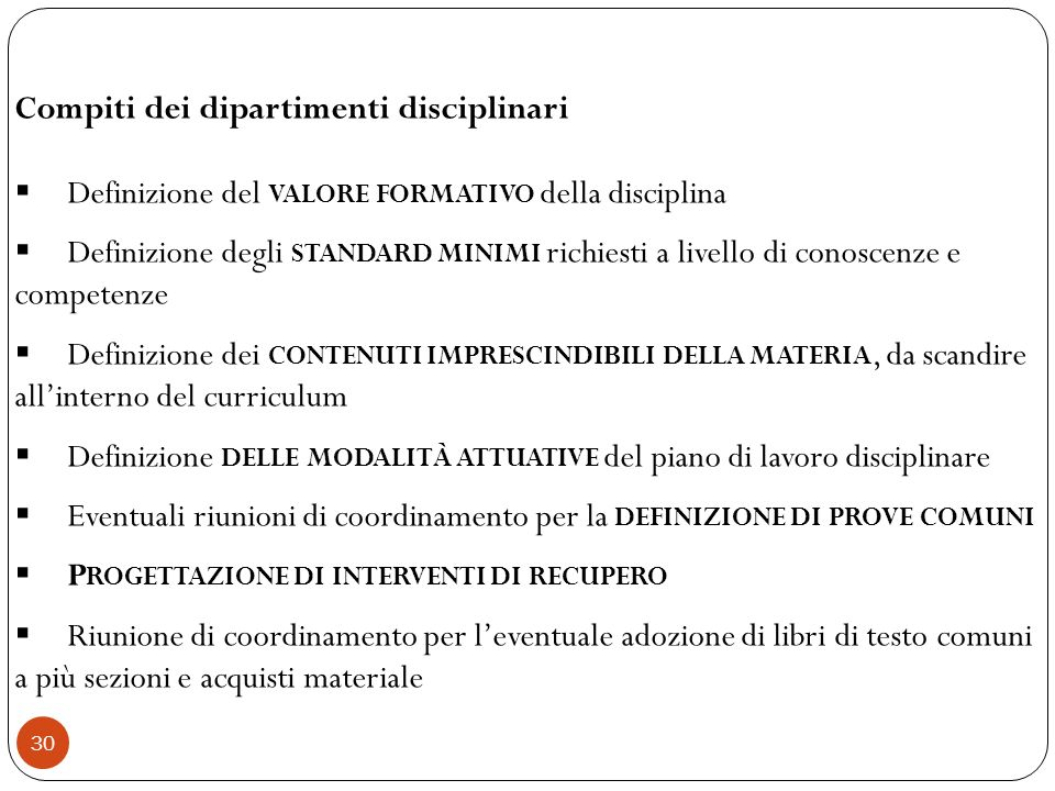Compiti dei dipartimenti disciplinari
