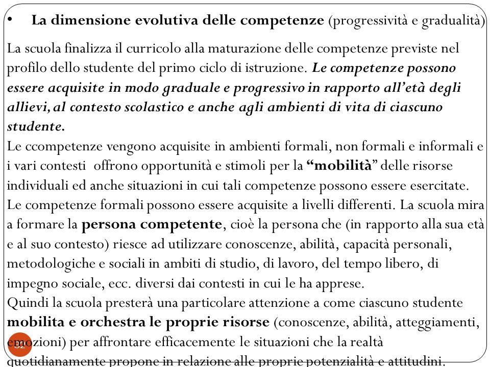 La dimensione evolutiva delle competenze (progressività e gradualità)
