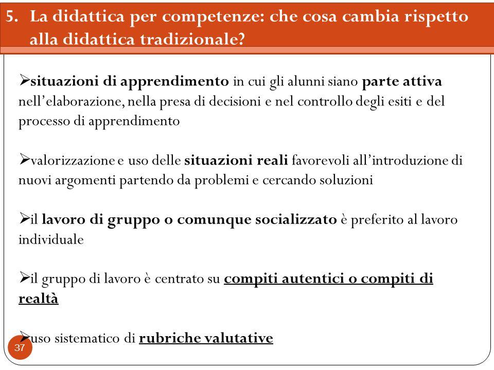 5. La didattica per competenze: che cosa cambia rispetto alla didattica tradizionale
