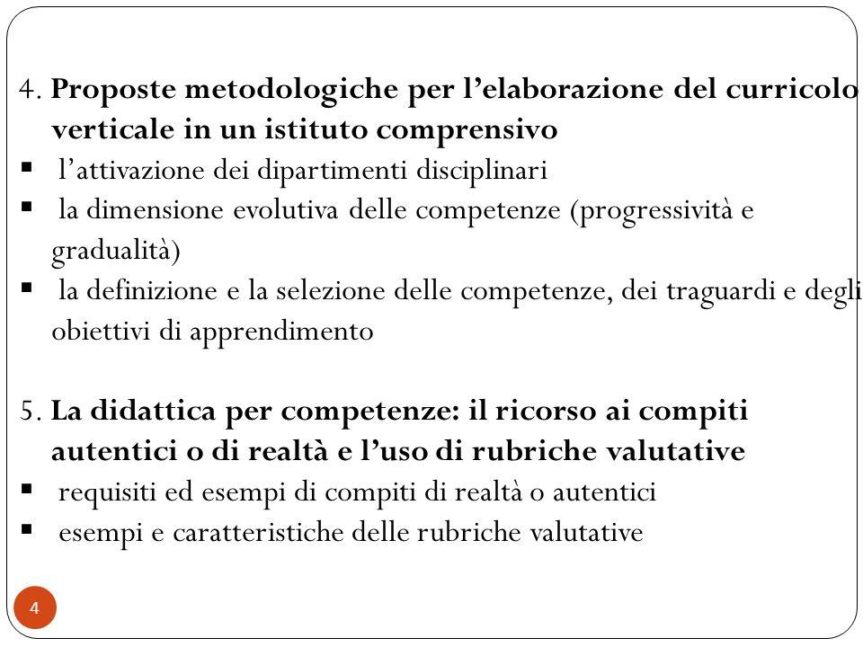 4. Proposte metodologiche per l'elaborazione del curricolo verticale in un istituto comprensivo