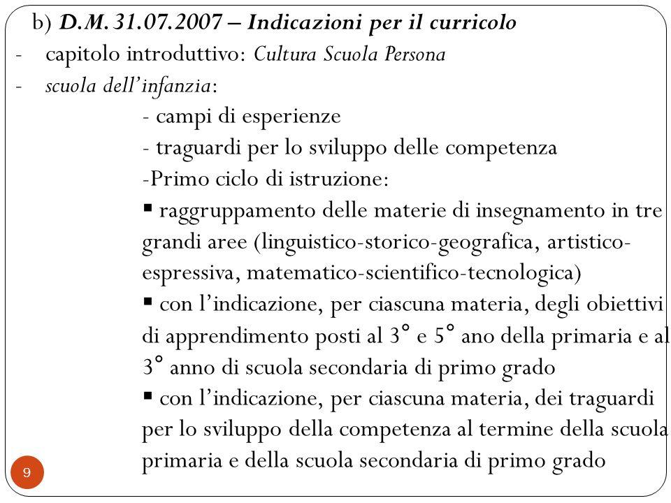 b) D.M. 31.07.2007 – Indicazioni per il curricolo