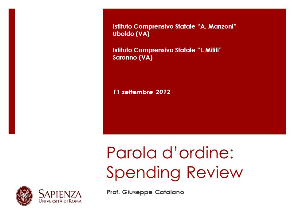 Parola d'ordine: Spending Review