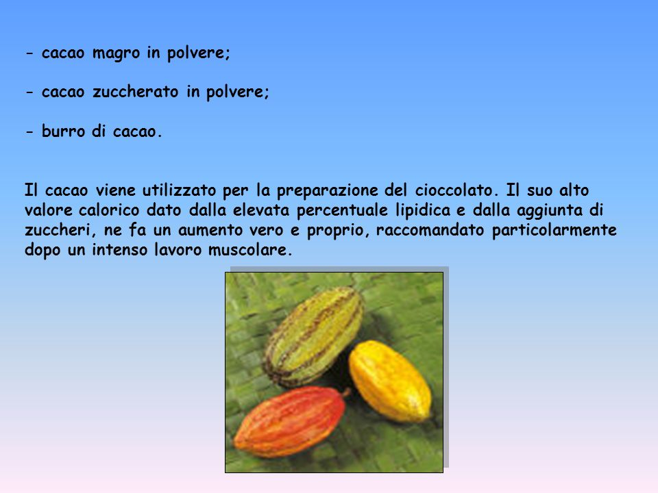 - cacao magro in polvere;