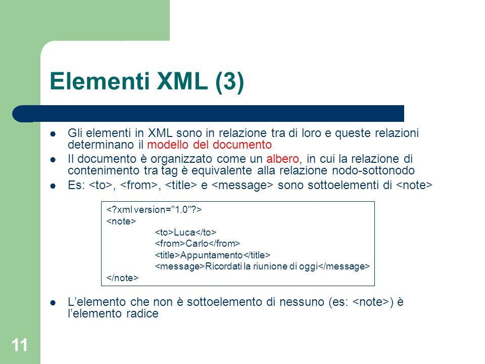 Elementi XML (3) Gli elementi in XML sono in relazione tra di loro e queste relazioni determinano il modello del documento.