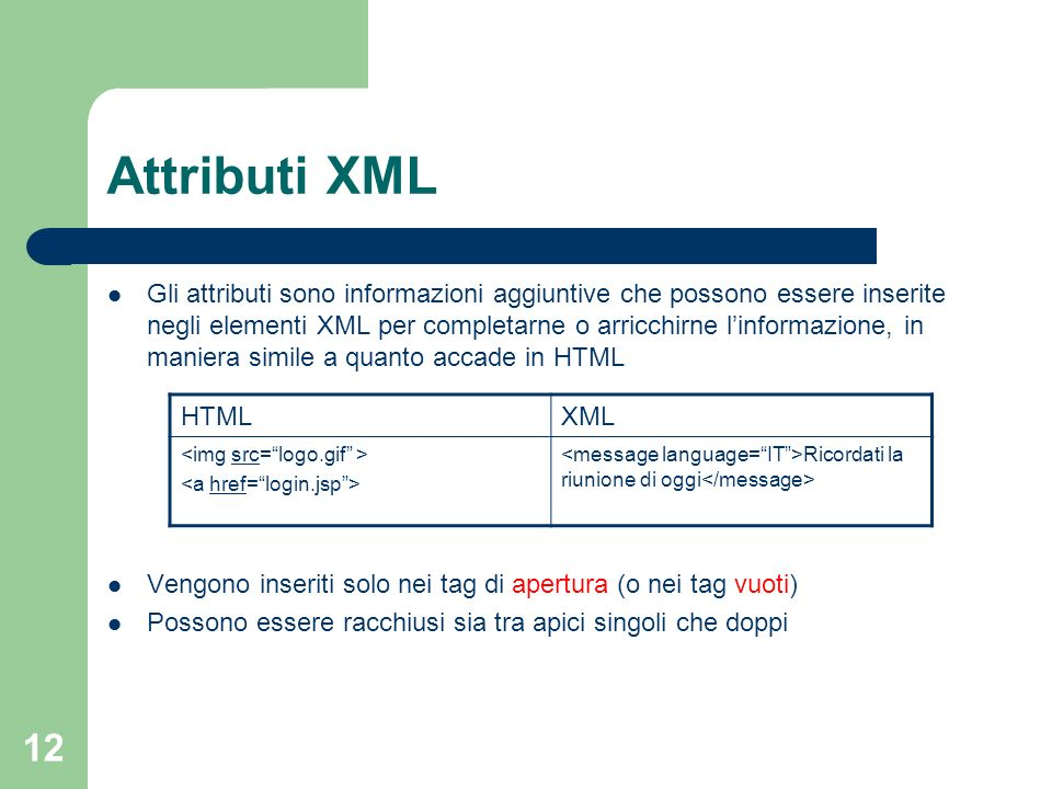 Attributi XML