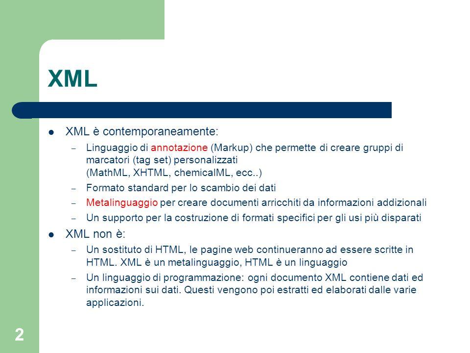 XML XML è contemporaneamente: XML non è: