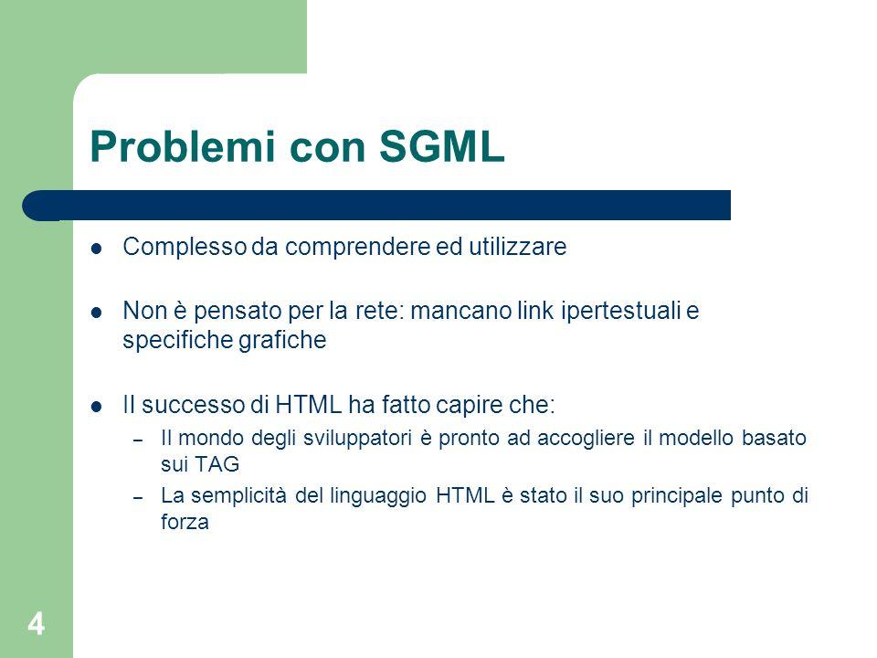Problemi con SGML Complesso da comprendere ed utilizzare
