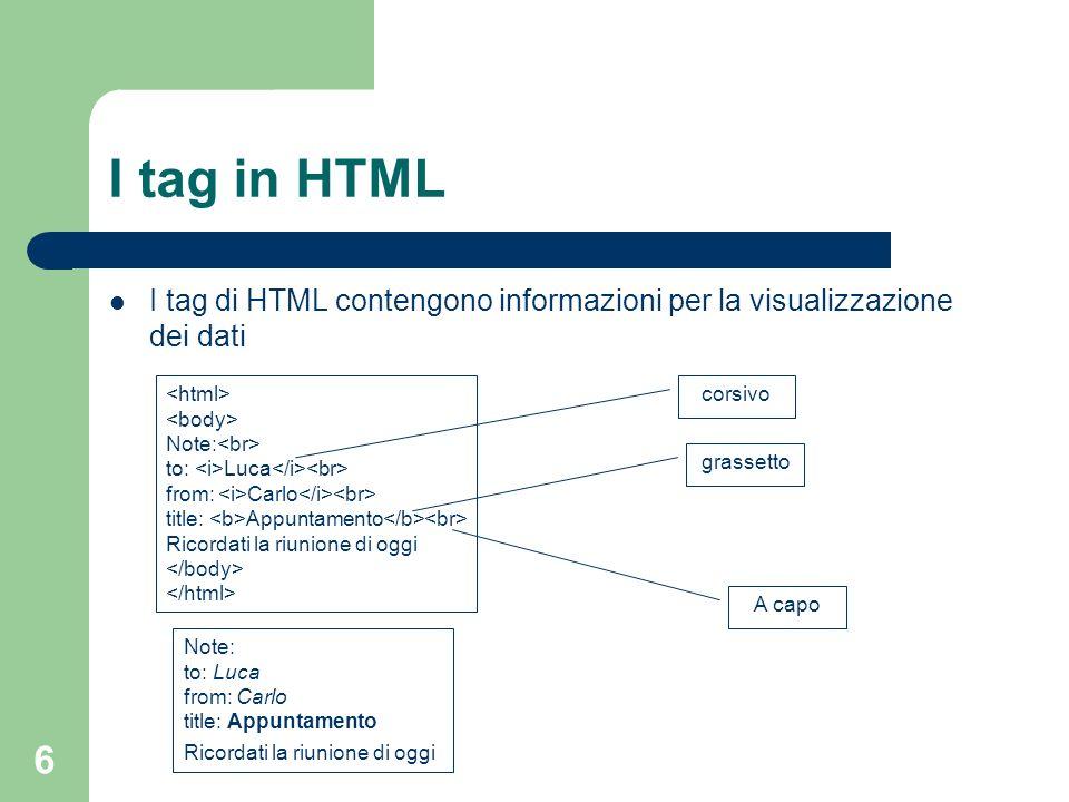 I tag in HTML I tag di HTML contengono informazioni per la visualizzazione dei dati. <html> <body>