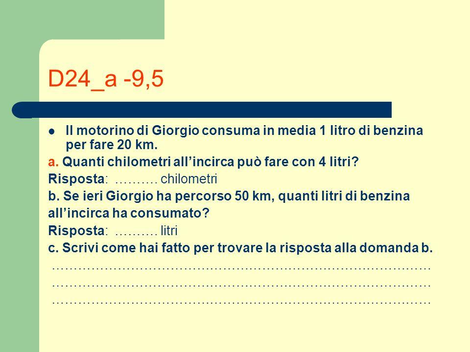 D24_a -9,5 Il motorino di Giorgio consuma in media 1 litro di benzina per fare 20 km. a. Quanti chilometri all'incirca può fare con 4 litri