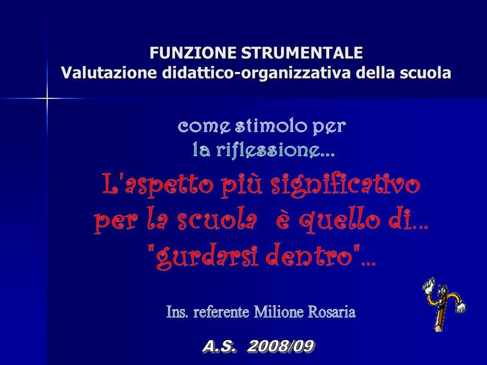 FUNZIONE STRUMENTALE Valutazione didattico-organizzativa della scuola