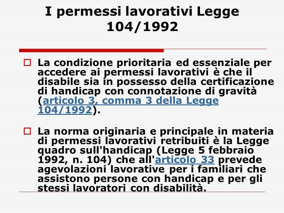 I permessi lavorativi Legge 104/1992