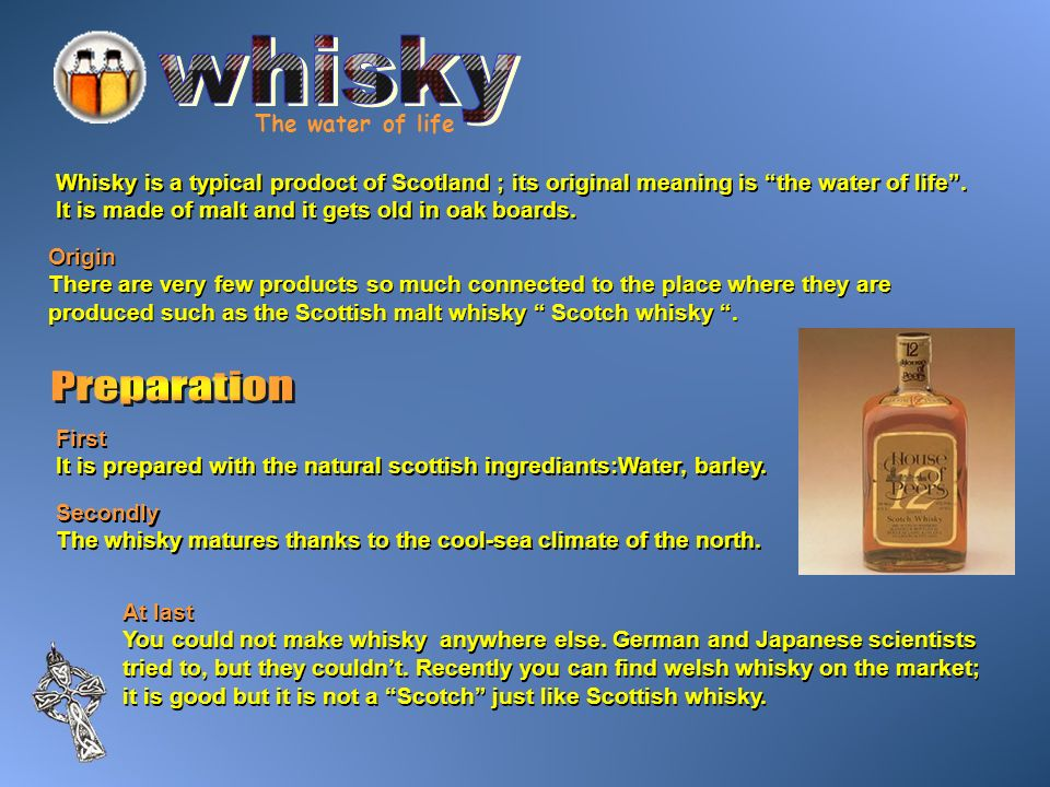 whisky Preparation The water of life