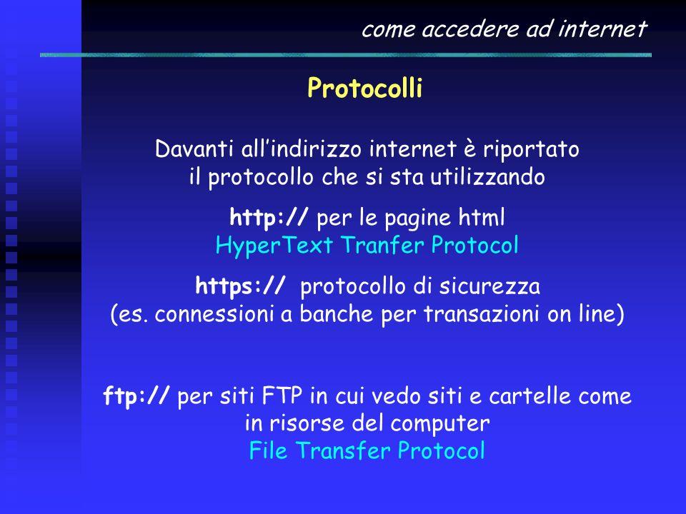 http:// per le pagine html HyperText Tranfer Protocol