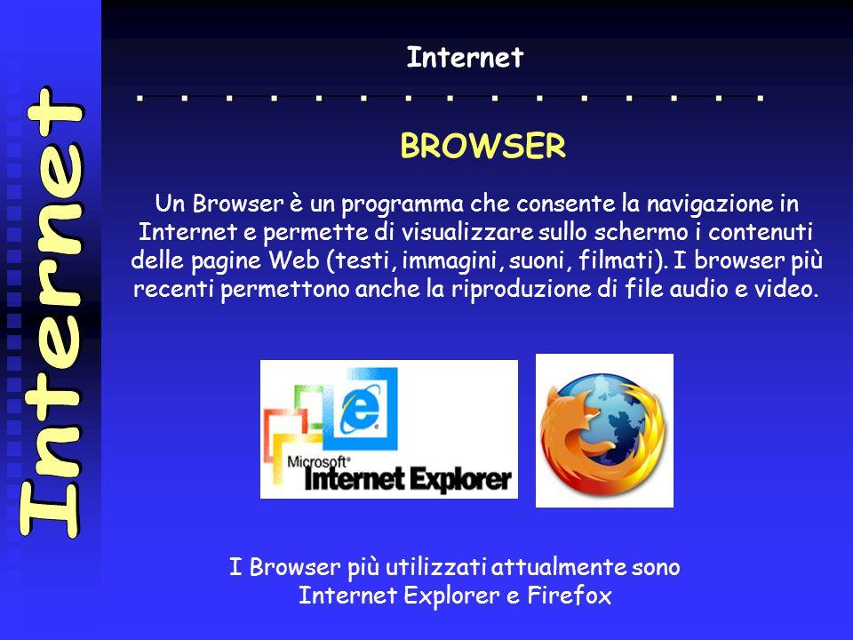 I Browser più utilizzati attualmente sono Internet Explorer e Firefox