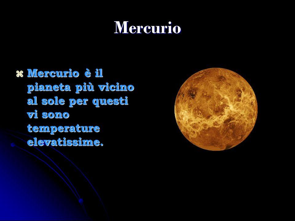 Mercurio Mercurio è il pianeta più vicino al sole per questi vi sono temperature elevatissime.