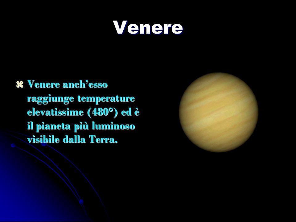 Venere Venere anch'esso raggiunge temperature elevatissime (480°) ed è il pianeta più luminoso visibile dalla Terra.