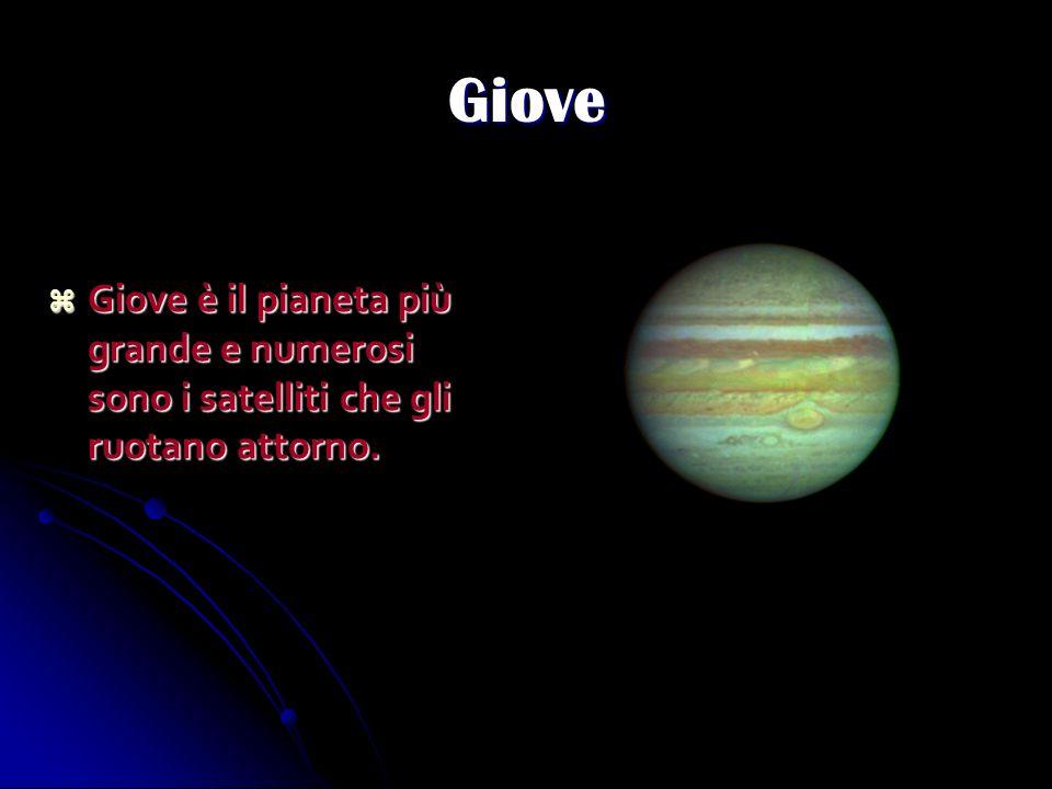 Giove Giove è il pianeta più grande e numerosi sono i satelliti che gli ruotano attorno.